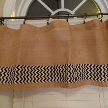 Burlap Curtain Valance with Navy Chevron Trim, burlap curtain, burlap window treatment
