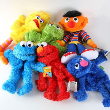 New Arrival 35cm Sesame Street Elmo BIG BIRD COOKIE BERT ERNIE Stuffed Doll Puppet Cartoon Soft Plush Toy Christmas Gift