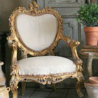 SOLD Pair of Stunning Italianate Armchairs in Gold - $2995/pr - The Bella Cottage