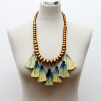BUDAH/ Gold & Green tribal statement necklace