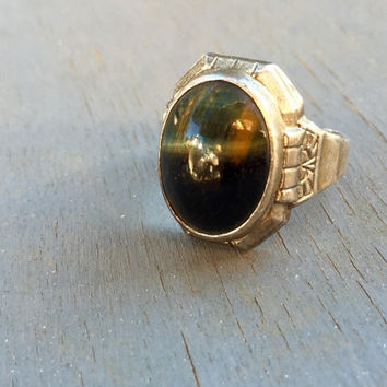 Mens Art Deco Ring Hawks Eye Gemstone Unisex Antique Jewelry