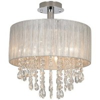 """Jolie Silver and Crystal 15""""W Ceiling Light by Possini Euro"""