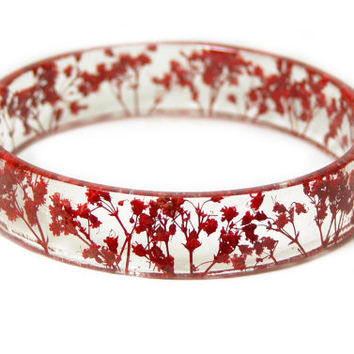 Real Dried Flower-  Resin Bangle -Red Flower Bracelet- -Red Bracelet- -Resin Jewelry -Flower Jewelry