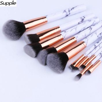 Professional Women Marble Makeup Brushes Extremely Soft Makeup Brush Set 10pcs Foundation Powder Brush Marble Make Up Tools