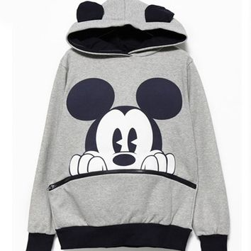 Mickey Mouse Print Lady's Sweatshirts Women Hooded Long Sleeve Sweatshirts Female Casual Hoodies Cartoon Print Cute Hoody S6914