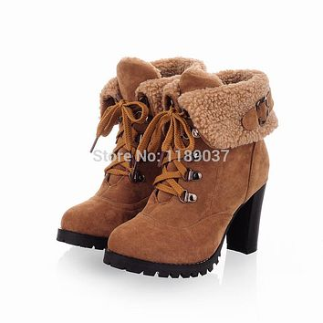 2014 Fashion winter Women Ankle Boots High Heels Lace up Snow Boots Platform Pumps keep warm women boots Factory Outlet
