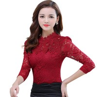 2016 Autumn Winter Women Tops Fashion Lace Blouse Long Sleeve Slim Body Crochet Floral Lace Shirt Elegant Plus Size Lace Top