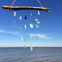 Sea Glass Wind Chime Hanging Art Mini Blues of the sea texas sea glass wind chime Beach Glass Seaglass Mobile Colors Ocean Tide mermaid