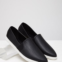 Pointed Faux Leather Slip-Ons