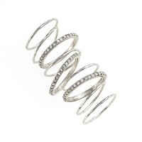 Women's Jules Smith 'Pave Wave' Slim Stackable Rings (Set of 6)