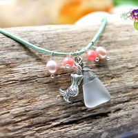 Mermaid Anklet for beach brides, sea glass jewelry from Hawaii on seafoam green leather