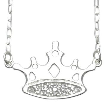 Sterling Silver 04.203.0008.18 Basic Necklace, Crown Design, with White Cubic Zirconia, Silver Tone