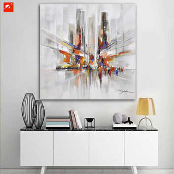 City Downtown New York Urban Streets Modern Picture Hand Painted Abstract Canvas Oil Painting Handmade Wall Art For LivingRoom