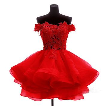 lovely elegant red short bridesmaid dresses 2016 boat neck appliques lace organza wedding party gowns vestido  de casamento