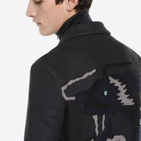 LONG COAT WITH DRAGON INTARSIA for Man | Valentino Online Boutique