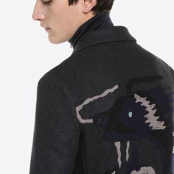 LONG COAT WITH DRAGON INTARSIA for Man   Valentino Online Boutique