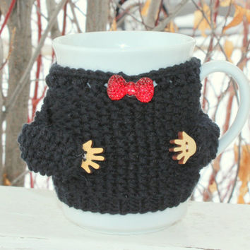Mug sweater. Mug cozy Cup cozy Black merino wool. Wooden hands. Red bow button. Knit coffee cozy. Bridal shower gift. Handmade home design.