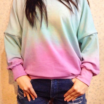 Oversized Sweater Skyblue Blue Mint Green Pink Pastel Dip Tie Dyed Bleach Ombre Dye Woman Long Sleeves Shirt