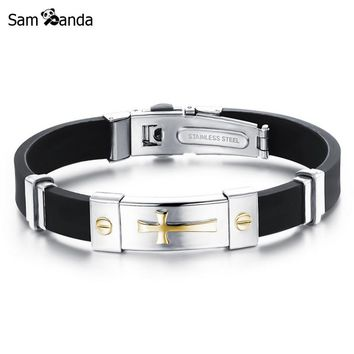 Newest Men Jewelry Black Silicone Rubber Bracelet Silver/Golden Cross Stainless Steel Trendy Men Bracelets MCC0262