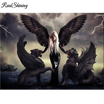 REALSHINING diamond Embroidery Angel Demon Dragons diamond pattern 5D DIY paintings 3D cross stitch mosaic stickers decor FS1763