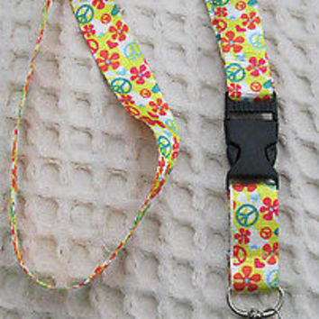 "Pink Yellow Green Peace Design 15"" Pink lanyard for ID Holder Mobile Devices-New"