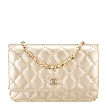 Chanel Gold Quilted Lambskin Classic Wallet On Chain (WOC)