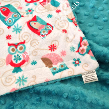 Toddler Minky Blanket  White with Coral  and Teal Owls and  Minky Dot Back   Toddler  Size 40 x 50