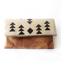 Large Fold over clutch purse, Hand painted , Linen canvas, Faux Leather, Aztec print, Tribal, Geometry