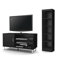 South Shore Renta 2-Piece Living Room Set, Includes TV Stand and 5-Shelf Bookcase, Pure Black