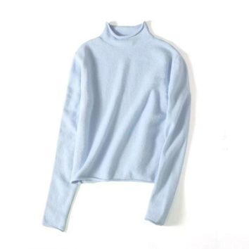 PEAPUF3 Fashion Long Sleeve Casual High Neck Pure Color Pullover Sweater