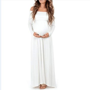 Women's White Off the Shoulder Simply Stunning Long Sleeve Flowy Maternity Photo Shoot Maxi Dress