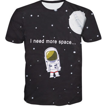 2016 New galaxy 3D t shirt  funny letters print women fashion clothing spaceman tops short sleeve summer tees tops TS194