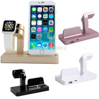 2 in 1 Charging Cradle Brack For iPhone 7 6S Plus 5S 6  For Apple Watch Station USB Charger Dock Stand Holder Desktop