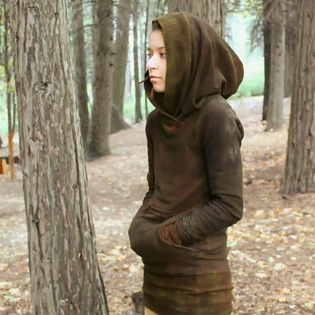 Handdyed bamboo fleece high neck hoodie organic clothing wildhorseapparel