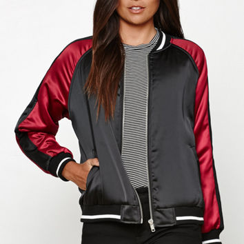Honey Punch Two-Tone Satin Bomber Jacket at PacSun.com