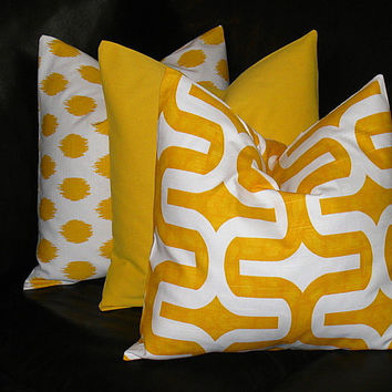 "Pillows Decorative Pillows TRIO Corn YELLOW modern GEOMETRIC ikat, embrace, solid 18x18 inch Throw Pillow Covers 18"" Premier Prints"