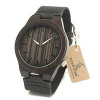 BoboBird Brand Design B13 Ebony Wooden Men Watches Wood Dial Wood Case Soft Leather Band Mens Watches Top Brand Luxury As Gift