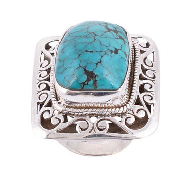 Nepali Turquoise Ring/Turquoise Stone Ring/Stone Ring/ Silver Ring/925 Sterling Silver Ring/Turquoise Jewelry/Blue Jewelry