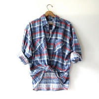 Vintage Plaid Flannel / Grunge Shirt / Boyfriend button up shirt / washed out oversized shirt