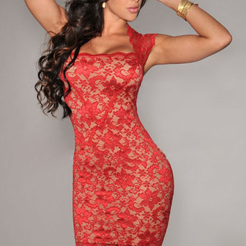 Red Crochet Lace Cap Sleeves Bodycon Mini Dress