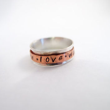 Purity Ring True Love Waits Christian Ring Sterling Silver Ring Guys Girls Promise Ring Spinner Ring Prayer Ring Fidget Ring PERSONALIZE