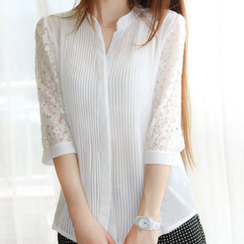 NEW Chiffon Shirt for Women Hollow Out Blouses Shirts Lace Summer Style Shirt Tops *35