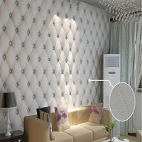 Modern Faulse Leather Softbag 3D Wallpaper PVC Diamond Sofa Tv Livingroom Bedroom Background Wall Paper Roll Papel De Parede
