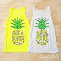 Neon Pineapple Bachelorette Party Shirts - Aloha Bride | Aloha beaches
