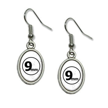 9mm Bullet - Weapon Gun Dangling Drop Oval Earrings
