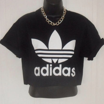 unisex customised adidas cropped t shirt  festival swag