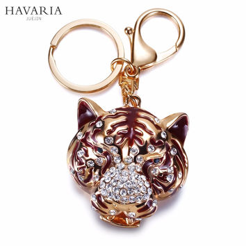 Brand HAVARIA High quality rhinestone Tiger Women Keychain