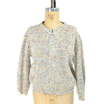 1960s Speckle Cardigan Sweater / Cream Rainbow Speckle / Zipper Front / Mad Men / Womens Vintage Sweater Cardigan / Size Large