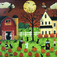 Folk Art Halloween Card - Pumpkin Picking Time with Ghosts, Witch - Custom 5 x 7 Greeting Card or Blank Card -Choose Your Own Inside Message
