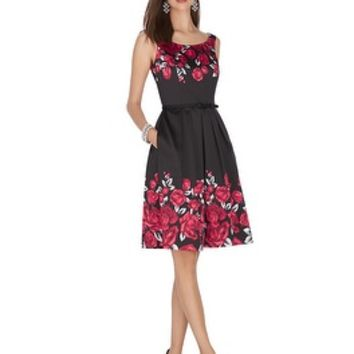 White House | Black Market Sleeveless Satin Rose Print Fit and Flare Dress